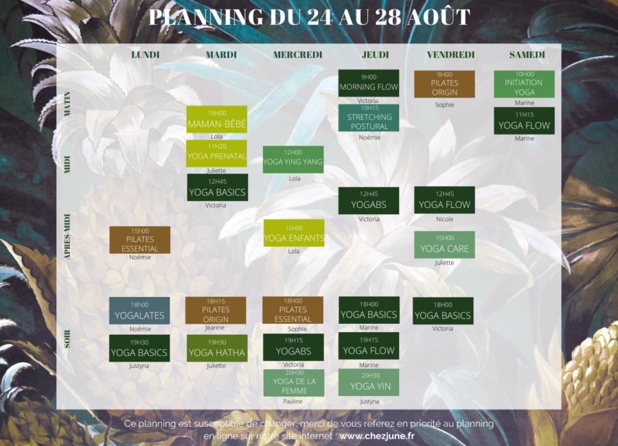 Planning - 24 au 28 rentrée 2020